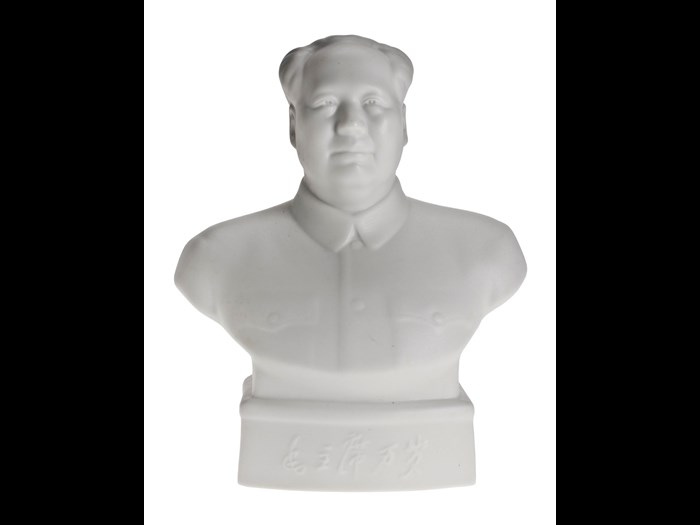 Bust of Chairman Mao Zedong, of the finest white biscuit porcelain with smear glaze, an official issue bust, the only sculptural image to be distributed to all official buildings throughout China, part of a consignment intended for distribution in Tibet: China, 1966.