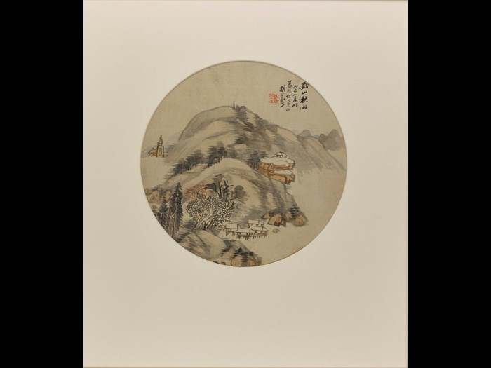 Circular fan painting entitled Mountain Streams and Autumn Rain, in ink and colour on silk, framed and glazed: China, by Hu Gongshou, 1869.