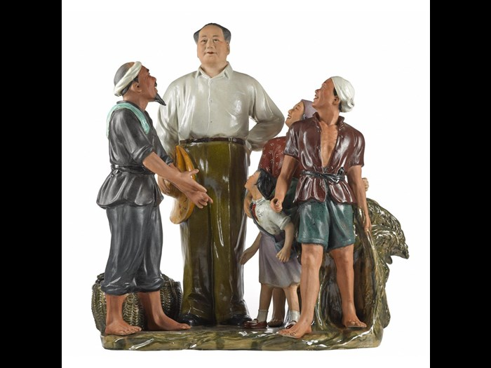 Porcelain figure group entitled Looking up to Mao, with brocade-covered storage box: China, Jingdezhen, 1972-74.