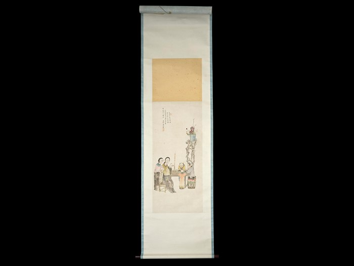 Hanging scroll painting of a group of figures, in ink and colour on paper: China, by Wu Man, 1898. Collected by Sir James Stewart Lockhart.