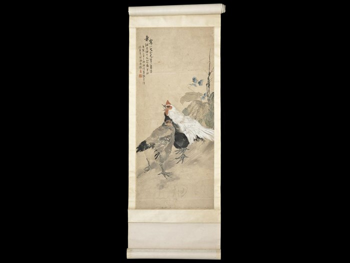 Hanging scroll painting of a cock and hen, in ink and colour on paper: Cina, by Xiao Yufen. Collected by Sir James Stewart Lockhart.