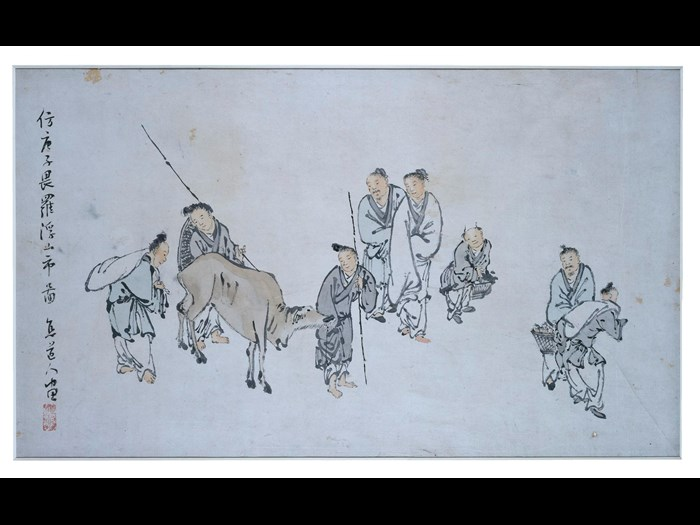 Painting of market day at the Lou Fou Hills, in ink and colour on paper: China, by Liu Tian. Collected by Sir James Stewart Lockhart.