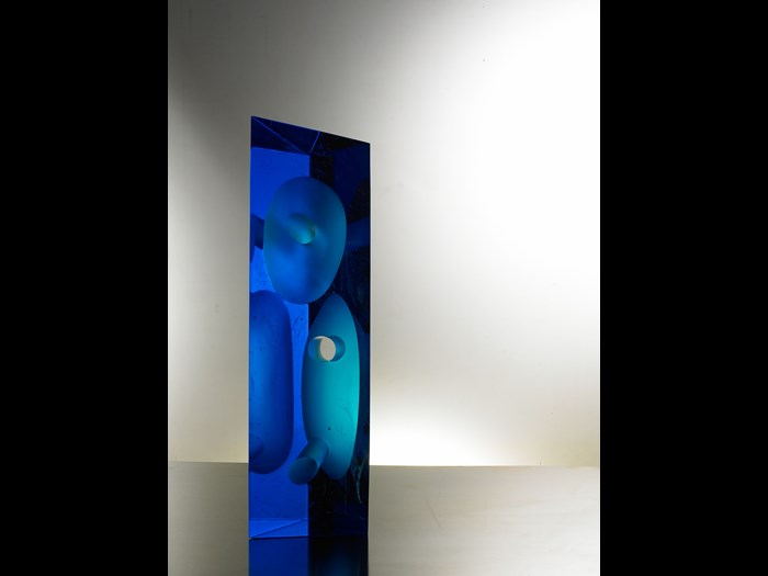 Glass sculpture entitled Grey Flute Series: Sea Blue: China, by Zhuang Xiaowei, 2007.