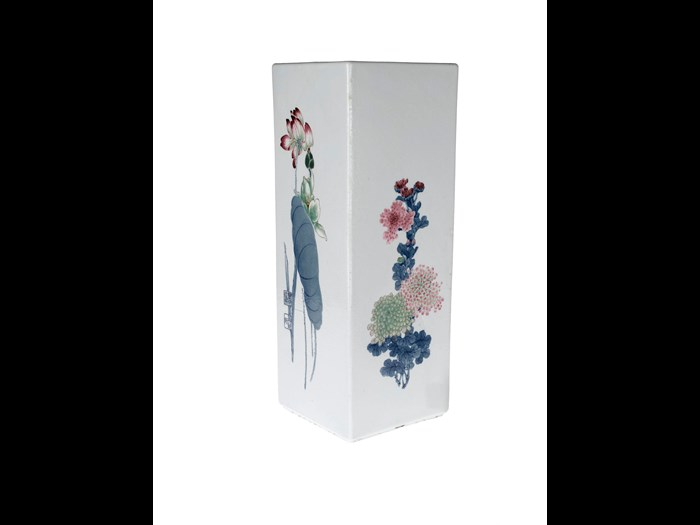 Large square slab-built porcelain vase with underglaze decoration of flowers of the four seasons: China, Jingdezhen, Ceramic Research Institute, by Wang Bu, c1956.