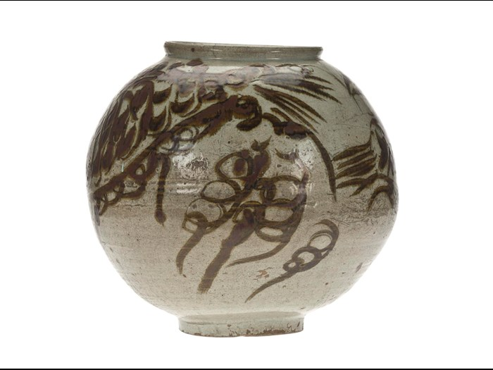 Storage jar (hangari) of stoneware, with a stylized fish painted in underglaze iron-brown: Korea, Joseon Dynasty, 18th century.