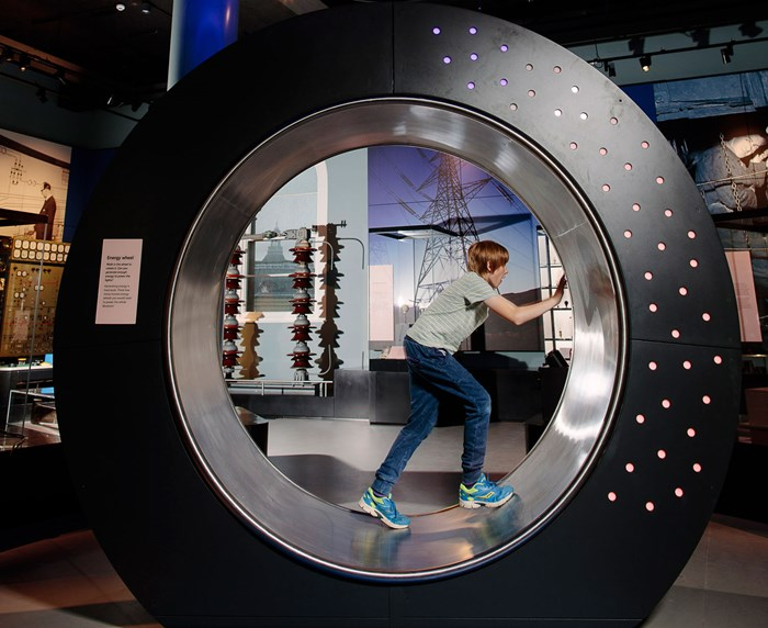 Above: Interactive fun in the 'human hamster wheel' in the Energise gallery.