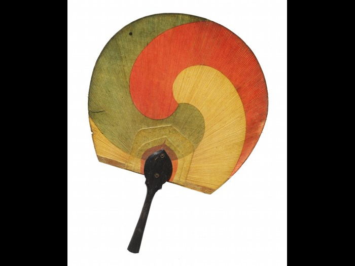 Woman's fan (taegeukseon) made of paper and lacquered wood, with good luck symbol: Korea, 1890-1905.
