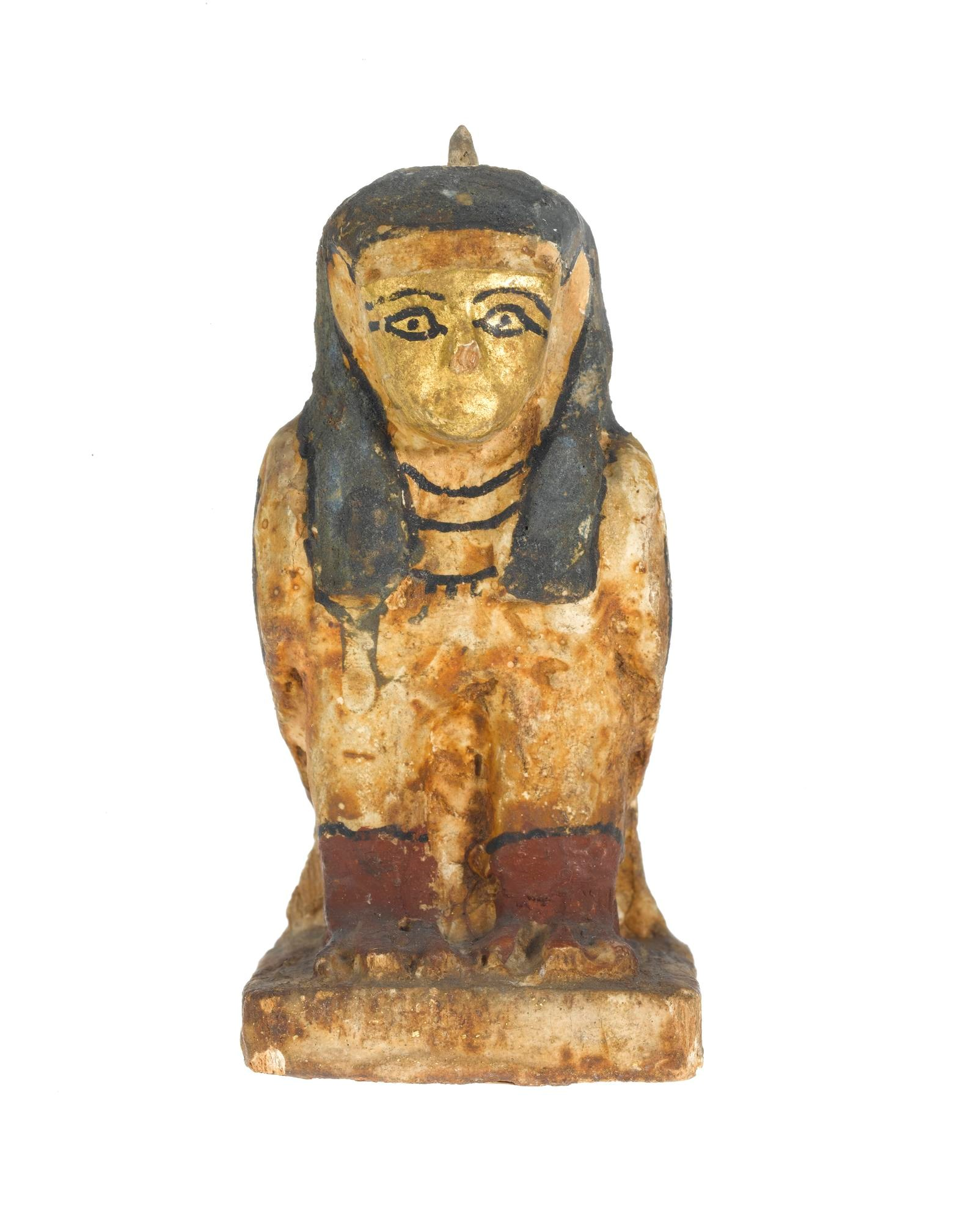 Painted wooden statuette of a ba-bird, with the body in the form of a falcon and the head in human form: Ancient Egyptian, probably from Akhmim, Late Period.