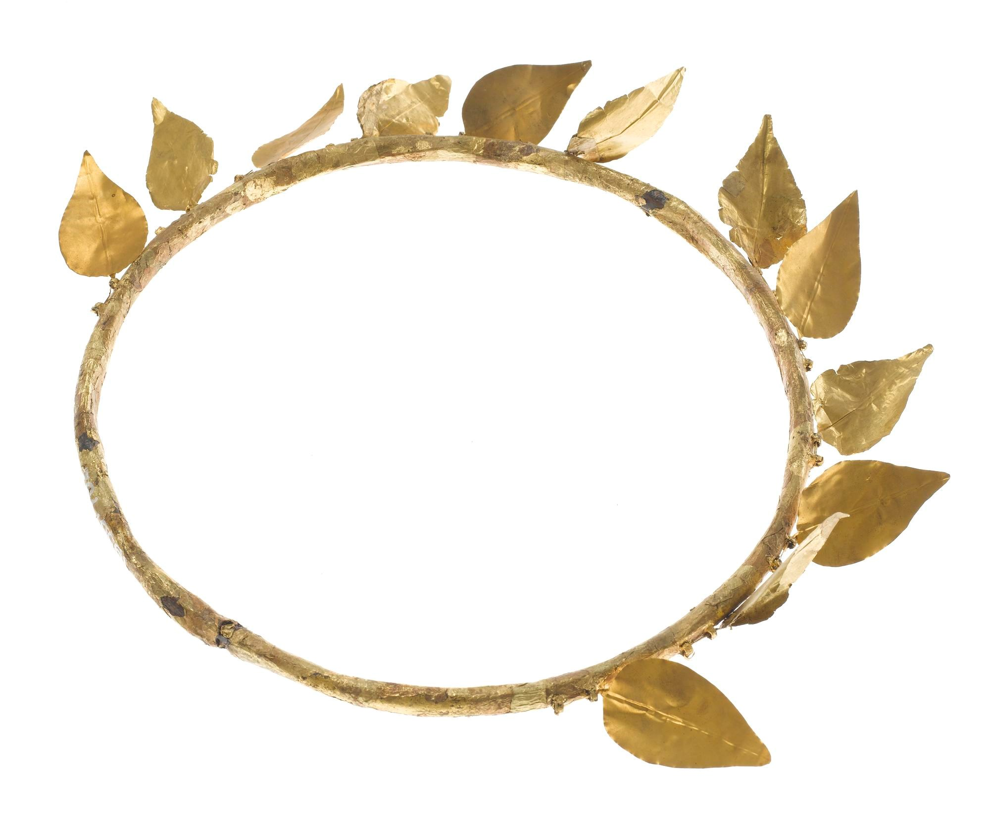 Wreath of twelve gold-foil leaves attached to a ring of copper, found on the mummy of Montsuef: Ancient Egyptian, excavated by A.H. Rhind in the tomb of Montsuef at Sheikh Abd el-Qurna, Thebes, Early Roman Period, c9 BC.