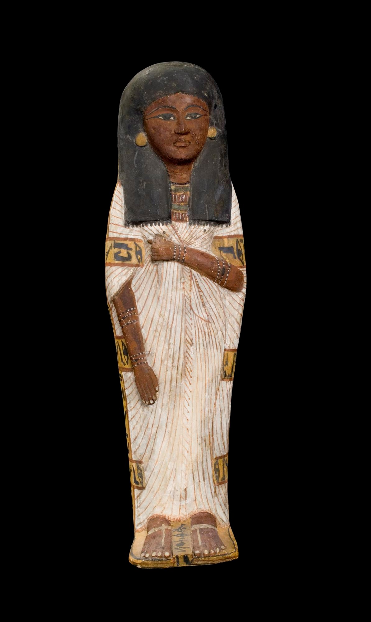 Lid for an anthropoid wooden coffin, plastered and painted, of a child, Tairtsekher, daughter of Irtnefret: Ancient Egyptian, possibly from Deir el-Medina, New Kingdom, early 19th Dynasty, c.1292-1200 BC.