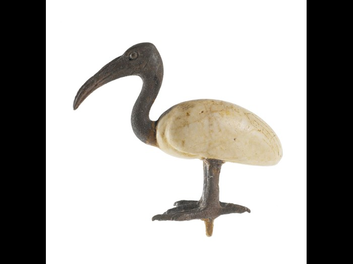 Votive statuette in the form of an ibis, the body made of calcite and the head and legs of bronze: Ancient Egyptian, Late Period.