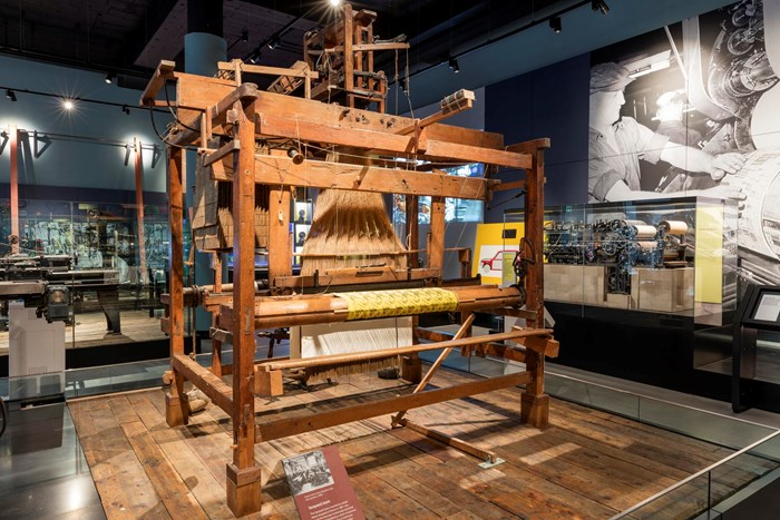 Jacquard hand loom in the National Museum of Scotland in Edinburgh