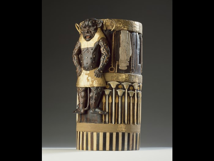 Box of cedar wood with ebony veneers and ivory inlays and gilding depicting the god Bes and bearing the cartouches of Amenhotep II: Ancient Egyptian, New Kingdom, 18th Dynasty, c.1427-1400 BC.