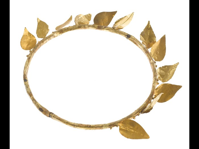 Wreath of twelve gold-foil leaves attached to a ring of copper, found on the mummy of Montsuef: Ancient Egyptian, excavated by A.H. Rhind in the tomb of Montsuef at Sheikh Abd el-Qurna, Thebes, Early Roman Period, c. 9BC