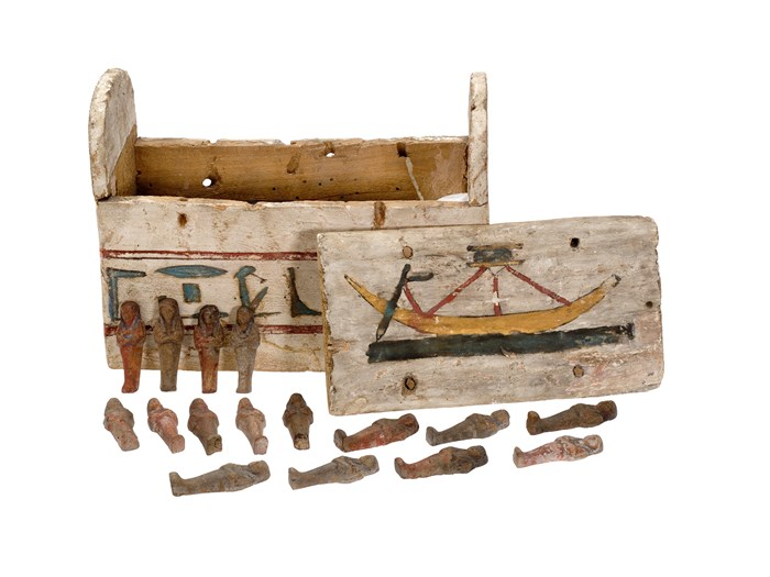 Shabti box and contents in white painted wood, of rectangular shape with a funerary prayer to Ra-Horakhty: Ancient Egyptian, 25th Dynasty, Third Intermediate Period, c.945-715BC.
