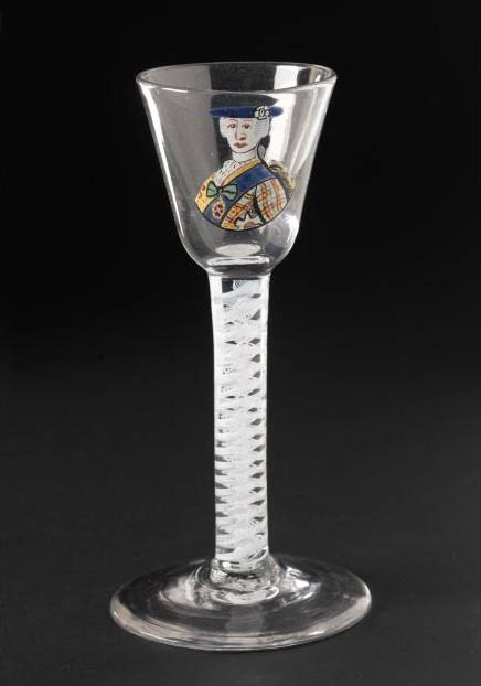 Wine glass with an enamelled portrait of Prince Charles Edward Stuart, one of a set of six commissioned about 1775 by Thomas Erskine, later 9th Earl of Kellie, a member of a group of aristocratic Jacobites who continued to celebrate Bonnie Prince Charlie's birthday until his death in 1788.