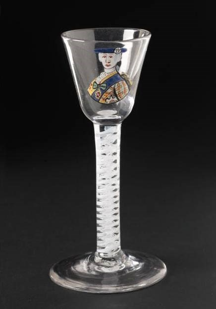 Wine glass featuring a picture of Bonnie Prince Charlie.
