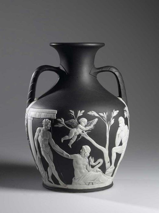 Copy of the Portland Vase of solid black jasper ware with white reliefs: English, Staffordshire, Etruria, by Wedgwood, 1790 - 1792