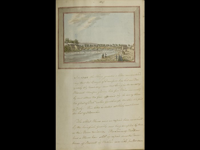 Drawing of Devorgilla Bridge, Dumfries from A collection on antiquities , Vol. 7, page 107, by Robert Riddell of Glenriddell.