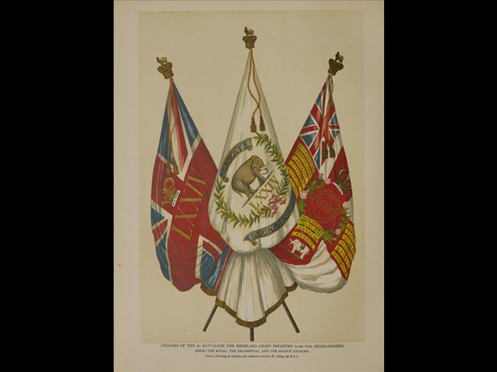 Colours of the Highland Light Infantry from Old Scottish regimental colours, 1885.