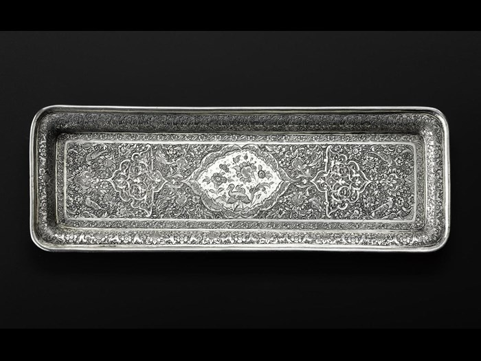 Rectangular tray of silver with a chased pattern consisting of birds and stylized floral motifs, hallmarked on the reverse: Iran, probably Isfahan, 1920s-1940s, acc. no V.2015.65