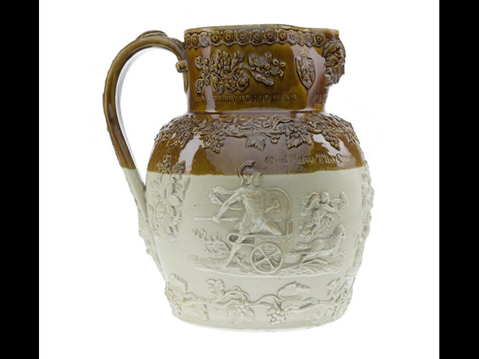 This jug probably made by Newbigging Pottery in Musselburgh is a rare example of elaborately decorated brown stoneware, a material normally used for jars and bottles.