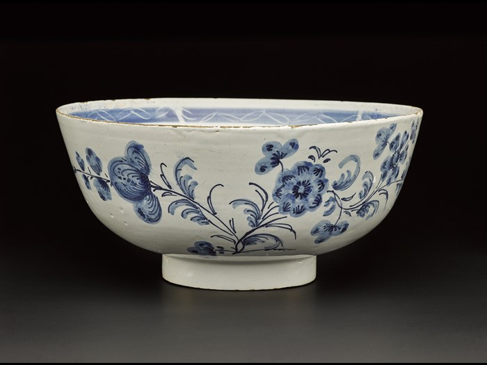 Imported porcelain was very popular in the 18th century and British potteries were keen to make a similar product with a pure white base. James Watt was instrumental in Delftfield's ability to produce fine wares such as these.