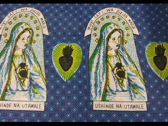 Cotton cloth printed with the Virgin Mary, commemorating the Catholic faith: Africa, Southern Africa, Zambia, Lusaka, 2010.