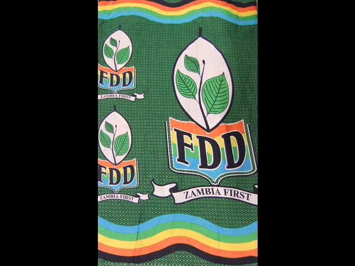 Cotton cloth printed for The Forum for Democracy and Development political party: Africa, Southern Africa, Zambia, 2001.