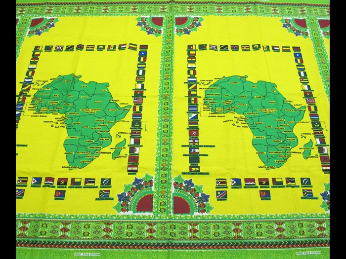 Cotton cloth printed with map of Africa surrounded by the National flags of Africa: Africa, Southern Africa, Mozambique, 1994-2000.