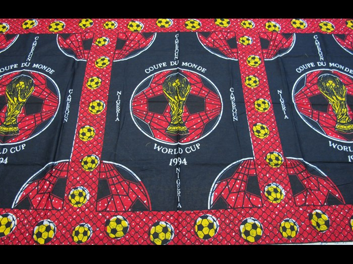 Cotton cloth printed to celebrate and support Nigeria and Cameroon in the World Cup 1994: Africa, Southern Africa, Mozambique, 1994.
