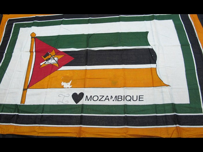 Cotton cloth printed with the national flag of Mozambique: Africa, Southern Africa, Mozambique, c.1994.