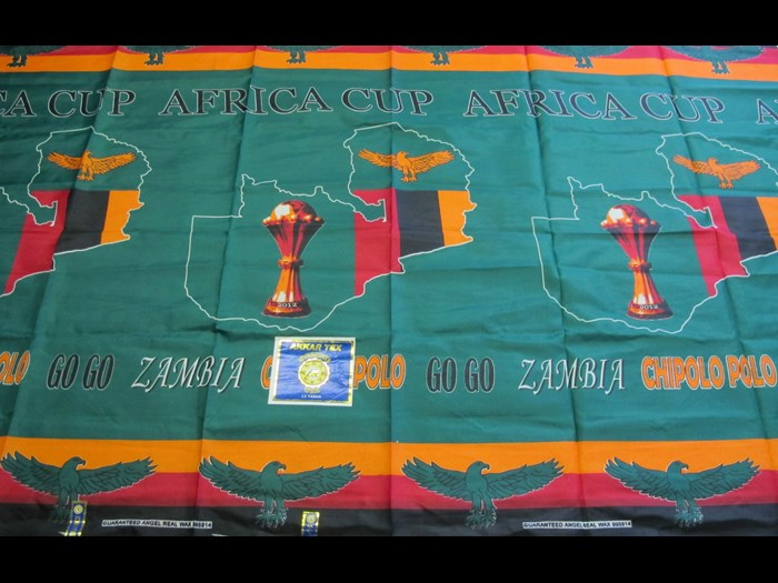 Cotton cloth printed to commemorate Zambian participation in the 2012 Africa Cup of Nations: Africa, Central Africa, Zambia, 2012.