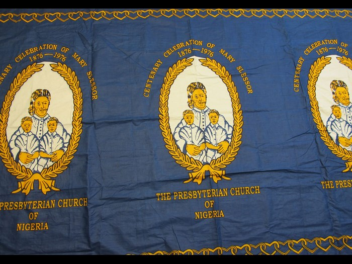 Cotton cloth commissioned by the Presbyterian Church of Nigeria to commemorate the centenary of the arrival of Scottish missionary Mary Slessor in Calabar: Africa, West Africa, Nigeria, 1976.