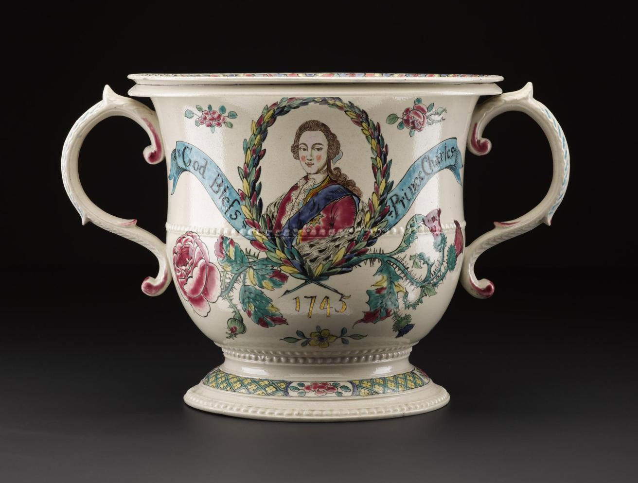 Staffordshire pottery flower vase with a portrait of Prince Charles Edward Stuart and the date 1745: English, Staffordshire, made c.1765, 20 years after Culloden.