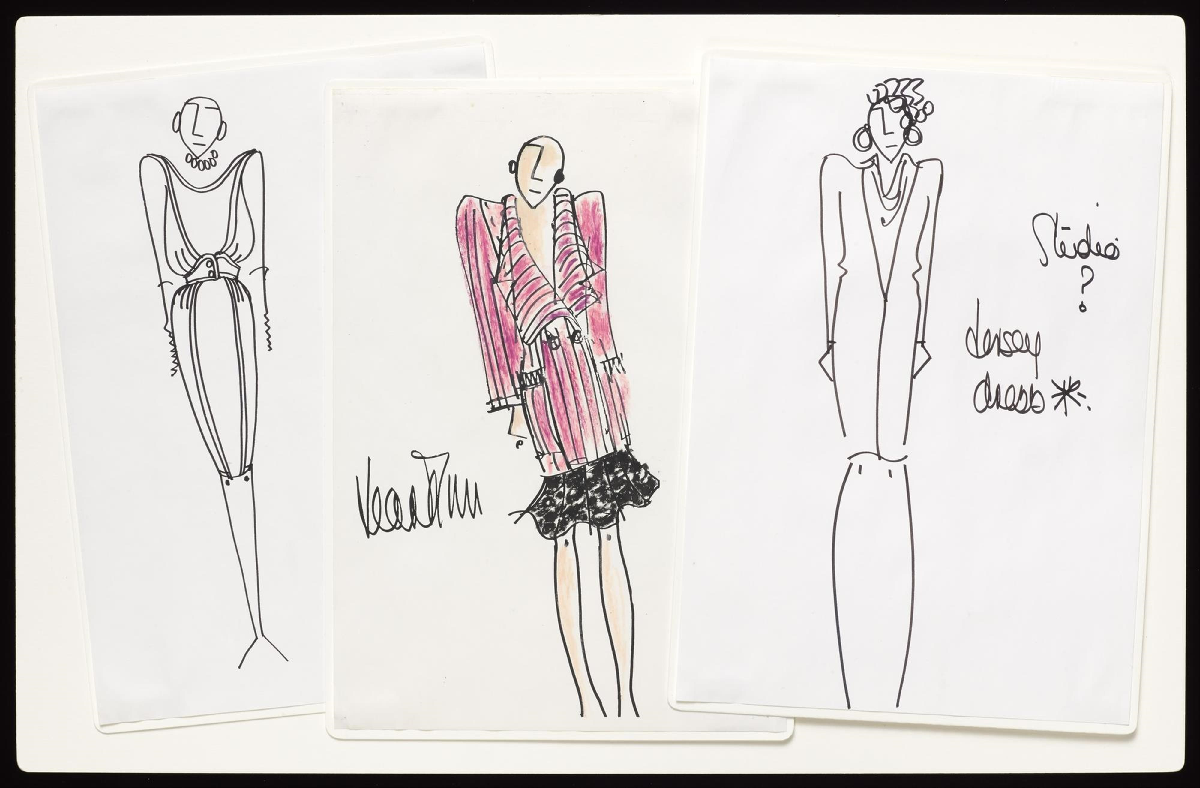 Series of three original sketches in ink and oil pastel on paper, mounted on board, depicting dress designs on three female figures: British, by Jean Muir Ltd, c. 1966-95.