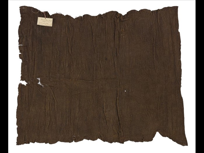 Length of barkcloth, dark colour obtained by steeping in mud: Africa, Southern Africa, Malawi, mid-19th century.
