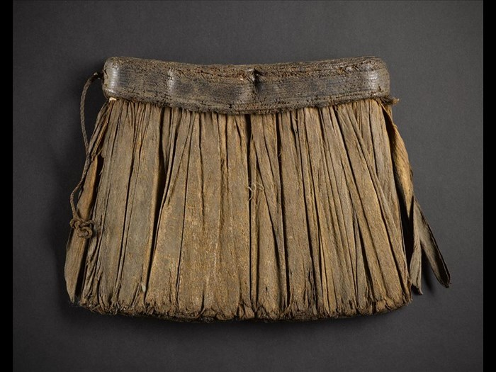 Skirt of barkcloth strips attached to waistband: Africa, Central Africa, Democratic Republic of the Congo, late 19th century.