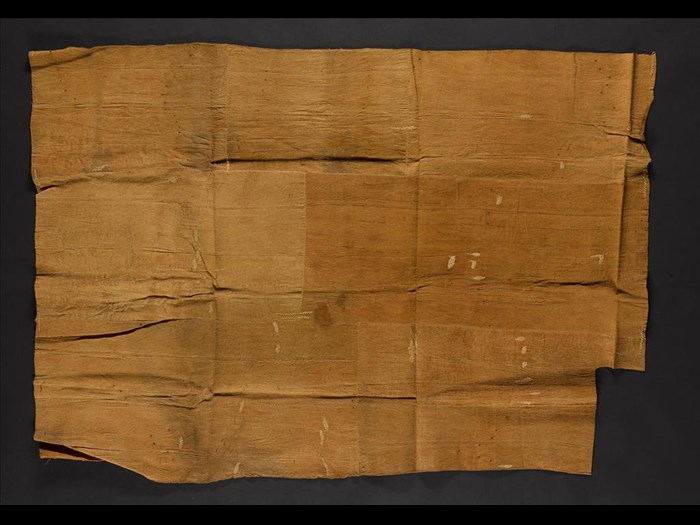 Length of barkcloth constructed of pieces hand stitched together with raffia thread: Africa, Southern Africa, Malawi, Basenga people, late 19th century.