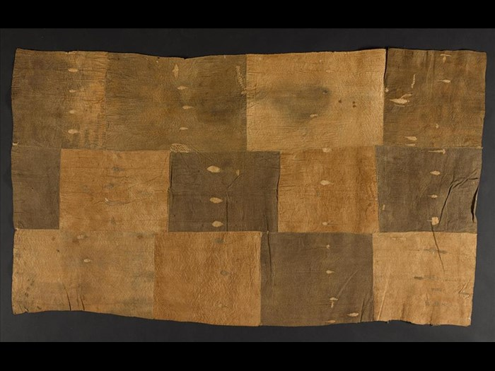 Length of barkcloth constructed from smaller pieces stitched together with raffia thread: Africa, Southern Africa, Zambia, Awemba Country, late 19th century.