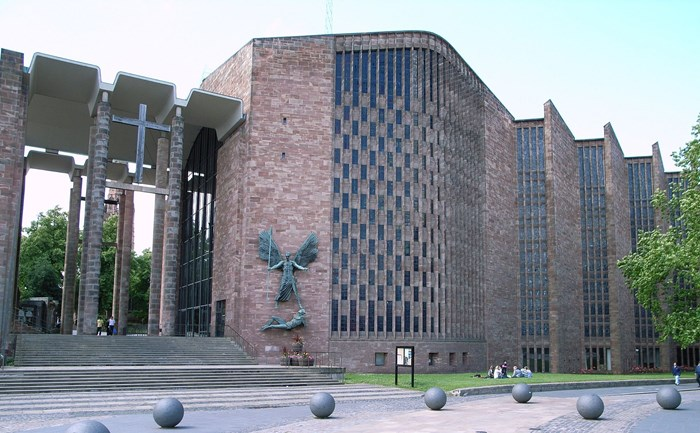 Coventry Cathedral exterior. Photo by Steve Cadman licensed under the Creative Commons Attribution-Share Alike 2.0 Generic licence.
