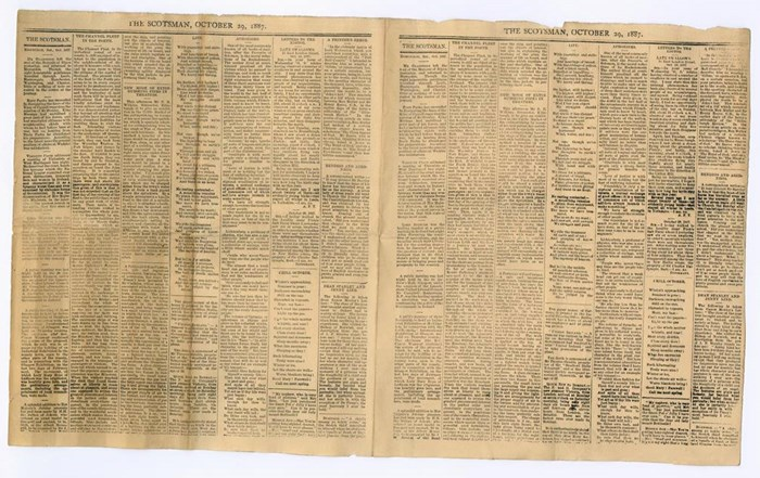 Miniature edition of The Scotsman dated 29 October 1887, printed by the model press