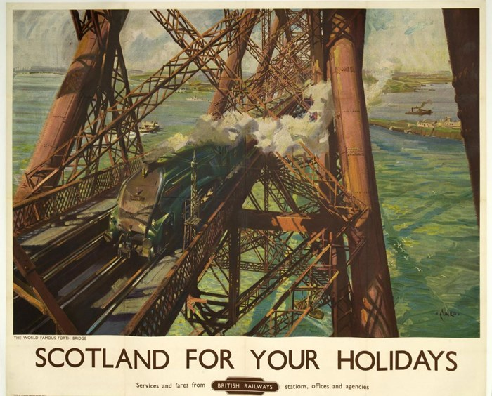 Lithograph advertising poster entitled Scotland for Your Holidays, depicting the Forth Bridge, for British Railways, by Terence Cuneo, c.1952.