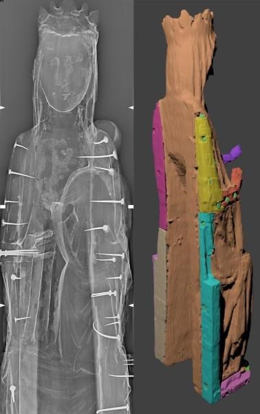 The Xradiograph on the left shows nails used in the construction. The image on the right, constructed from CT data by Dr Thomas Challands, University of Edinburgh, highlights the separate wooden pieces used in the construction.