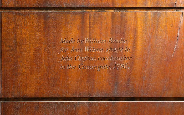 Inscription on cabinet made by William Brodie