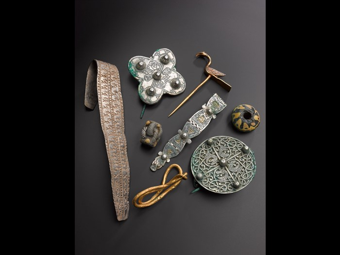 A selection of objects from the Hoard showing the great range and variety of materials.