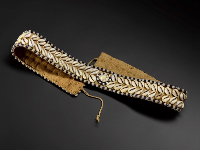 Waist belt of woven raffia with decoration of cowrie shells and black and white glass beads: Africa, Central Africa, Democratic Republic of the Congo, Kasai District, early 20th century.
