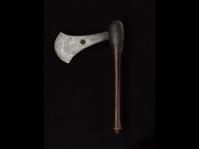 Chief's ceremonial axe with iron flat celt blade with inserted copper 'eye' and wooden handle: Africa, Central Africa, Democratic Republic of the Congo, Katanga, late 19th century.