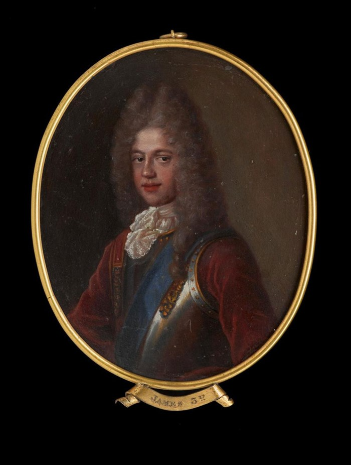 Oil miniature on copper of Prince James Francis Edward Stewart, probably based on a portrait by Alexis Belle.