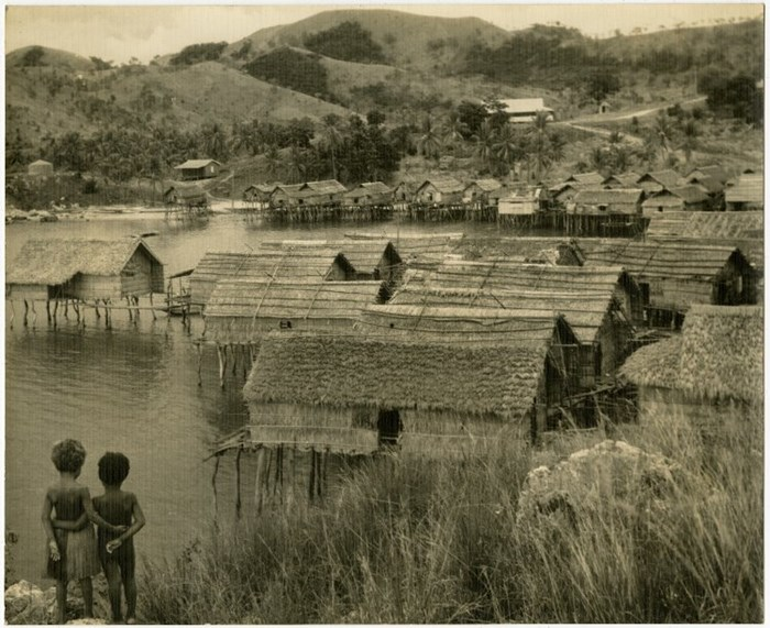 Photograph of a group of thatch-roofed houses on stilts in an expanse of water; Elevala, Port Moresby, Papua New Guinea, 1900-1930. © The Trustees of the British Museum (CC BY-NC-SA 4.0)
